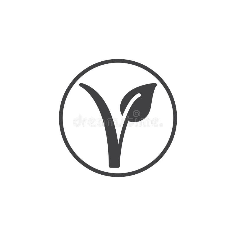 Vegetarisk fläck Växt i en cirkelsymbolsvektor, fyllt plant tecken, fast pictogram som isoleras på vit stock illustrationer