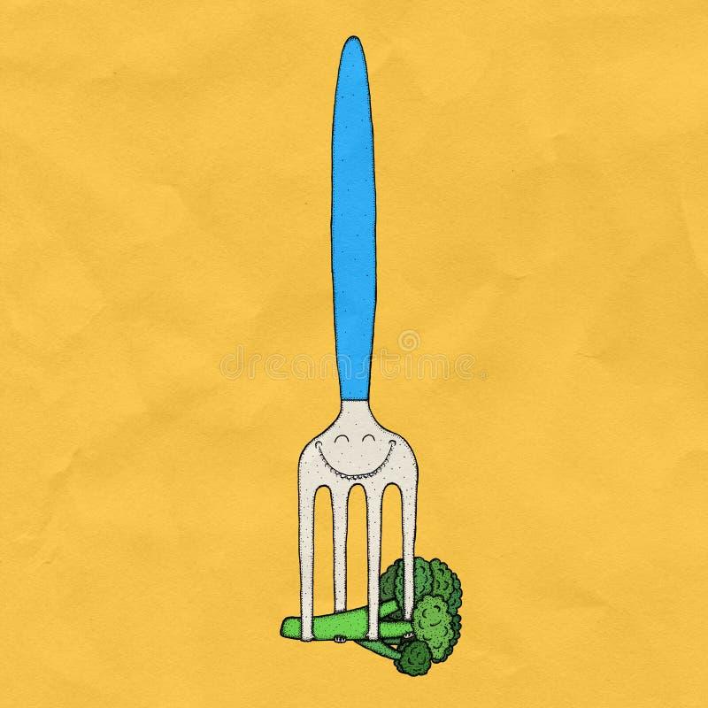 Vegetarisk gaffel med broccoli royaltyfri foto
