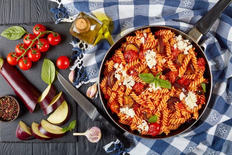 Vegetarisk italiensk pastafusillialla Norma royaltyfri foto