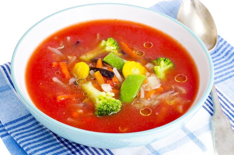 Vegetarisk kall tomatsoppa med blandade grönsaker arkivfoton