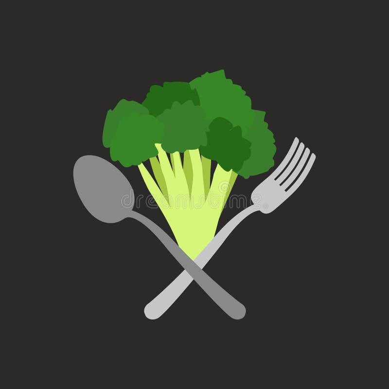 Vegetarisk logo Broccoli med en gaffel och en sked isolerad vektorwhite för 8 emblem eps vektor illustrationer