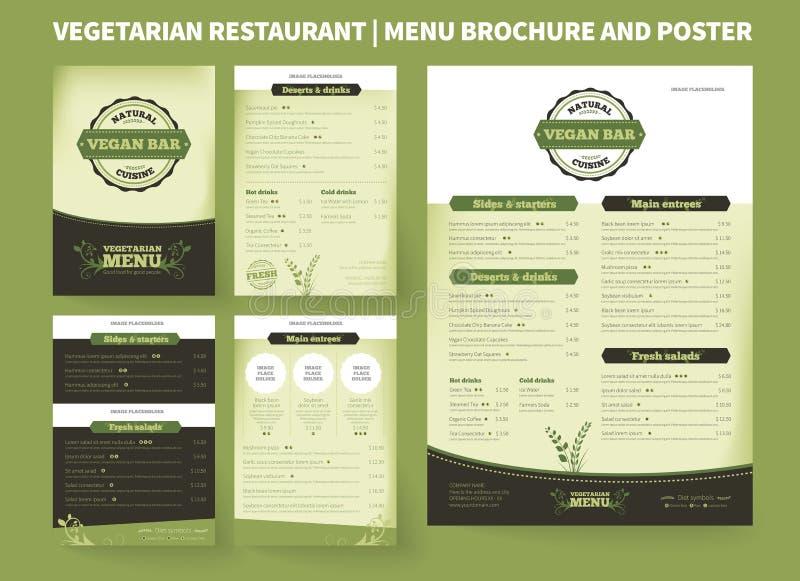 Vegetarisk mall för restaurangvektorbroschyr royaltyfri illustrationer