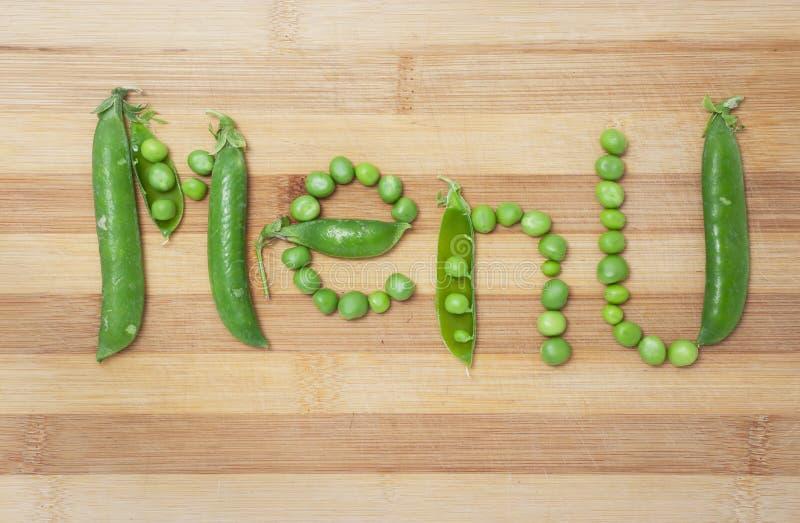 Vegetarisk meny av gröna ärtor royaltyfri bild