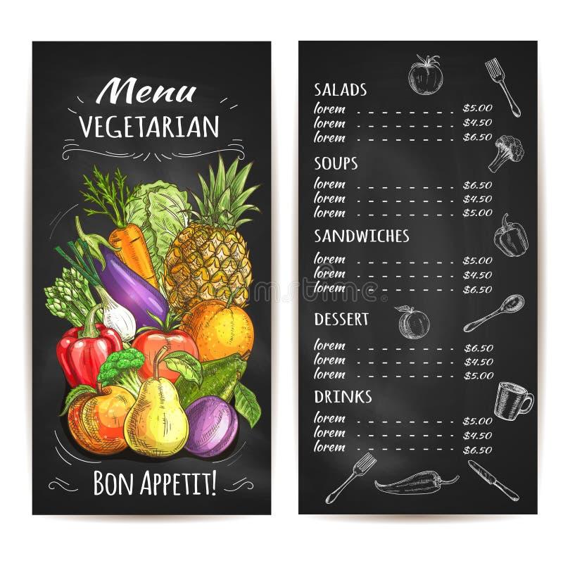 Vegetarisk meny av grönsaker, frukter, kritapris vektor illustrationer