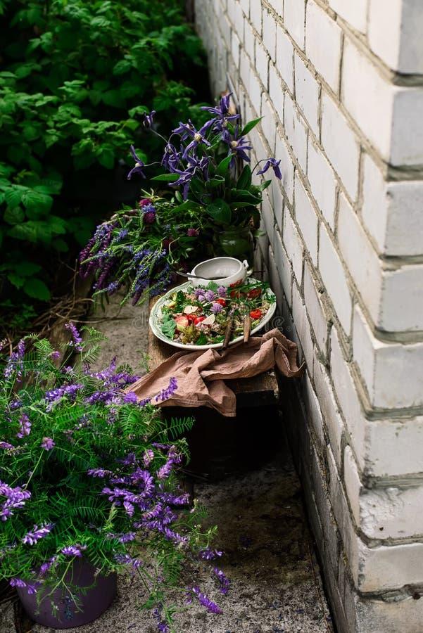 Vegetarisk sallad av gr?n bovete royaltyfri bild