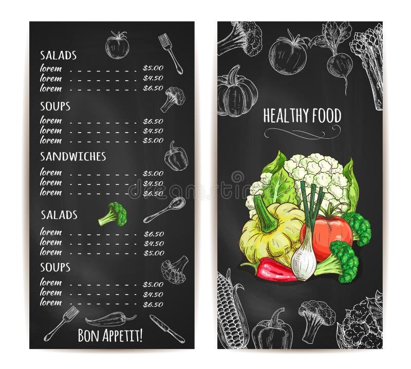 Vegetarisk sund matmenykrita skissar vektor illustrationer