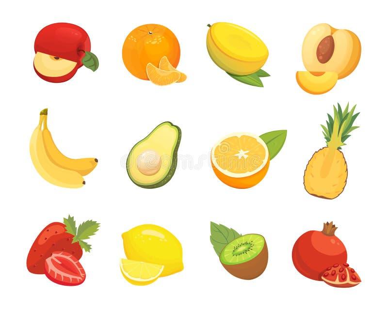 Vegetariska matsymboler i tecknad filmstil Nya tropiska organiska frukter för färg Vård- frukt- skördillustration royaltyfri illustrationer