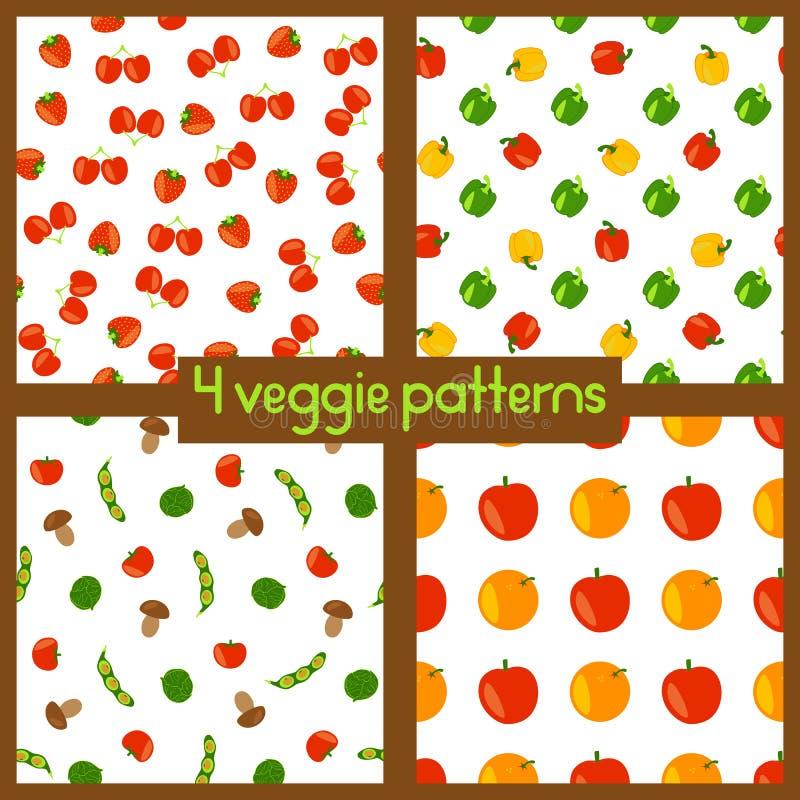 Vegetariska sömlösa modeller Sund livsstil Veggiebakgrunder med frukter, grönsaker, bär och champinjoner royaltyfri illustrationer