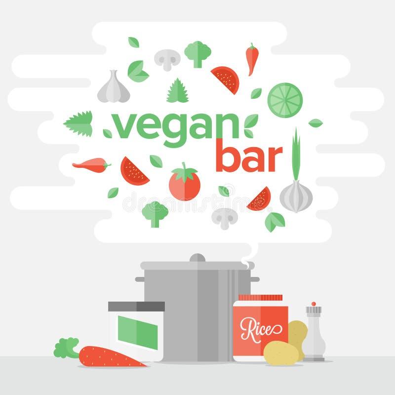 Vegetariskt begrepp för matlägenhetbaner royaltyfri illustrationer