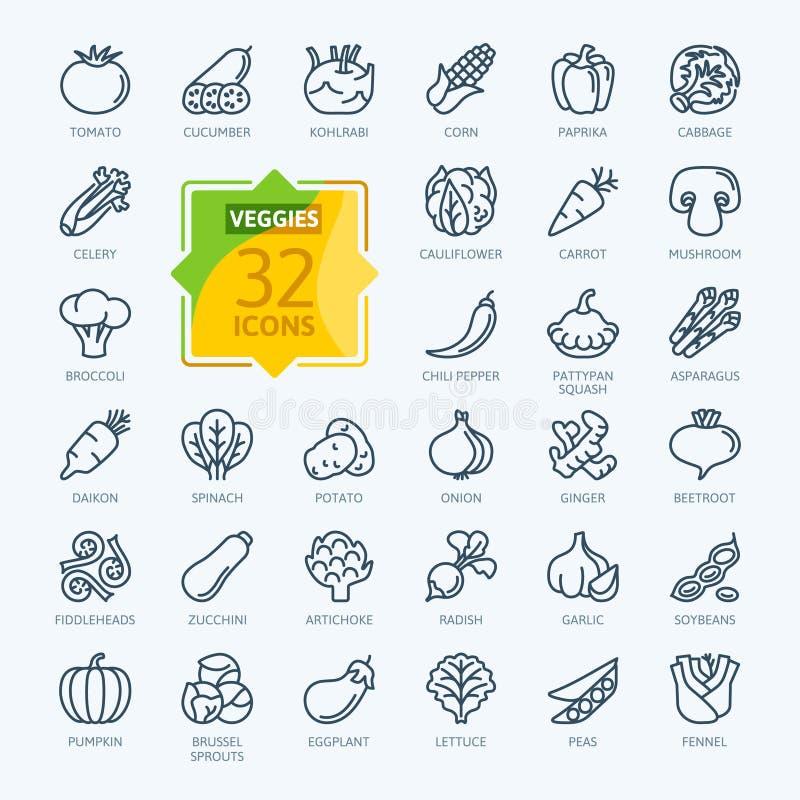 Vegetariskt grönsak, veggies - minsta tunn linje rengöringsduksymbolsuppsättning ?versiktssymbolssamling stock illustrationer