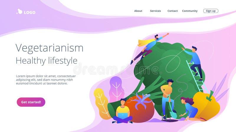 Vegetarisme en gezond levensstijllandingspagina stock illustratie