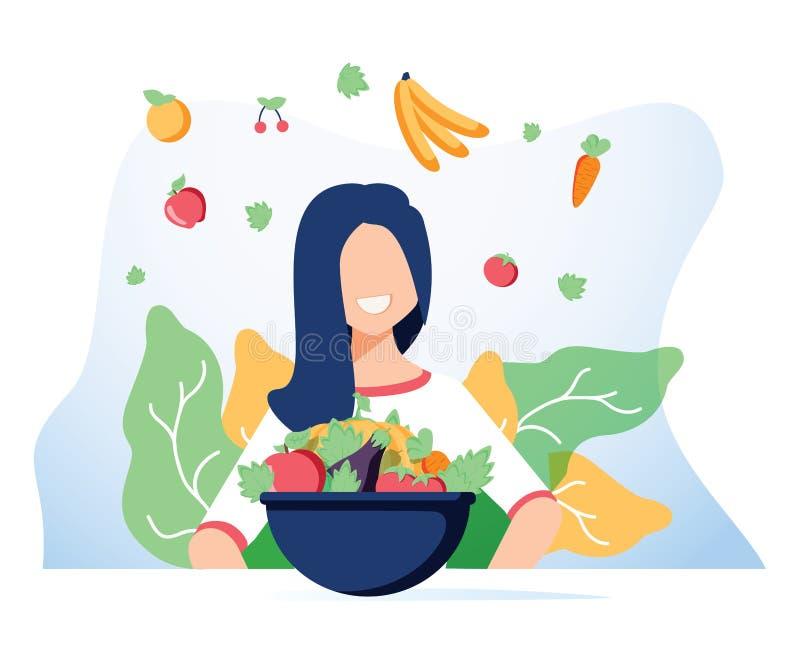 Vegetarisme en het op dieet zijn conceptenbanner voor mobiele toepassing of reclameblog Vectorillustratie van het jonge vrouw ete royalty-vrije illustratie