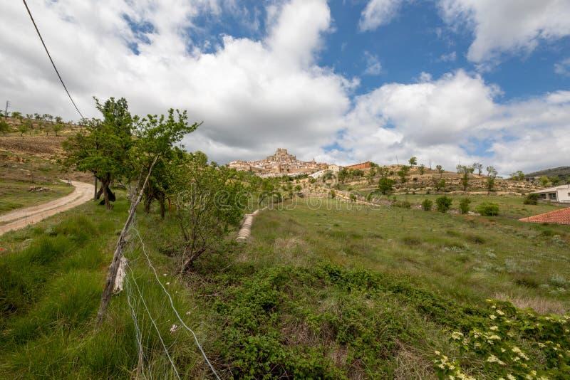 Vegetatie die aan een typisch bergdorp grenzen royalty-vrije stock foto's