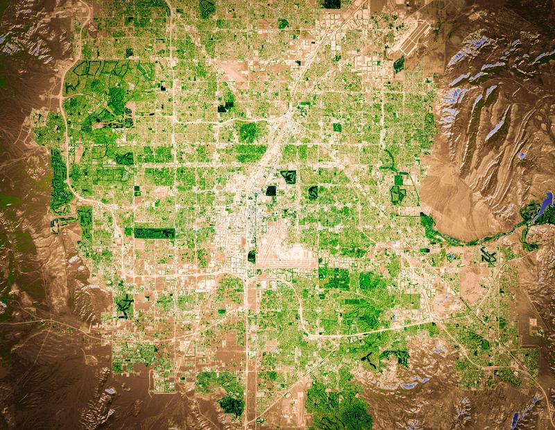 Vegetation and irrigitation areas in Las Vegas, background map, high resolution satellite image, aerial view stock image