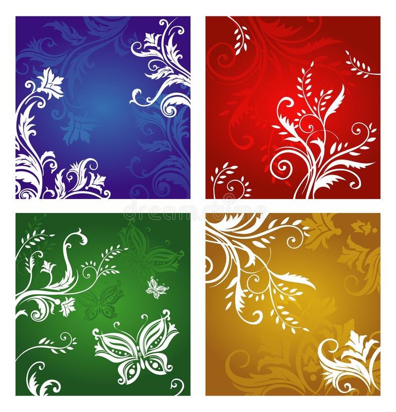 Vegetative and flower ornament stock illustration