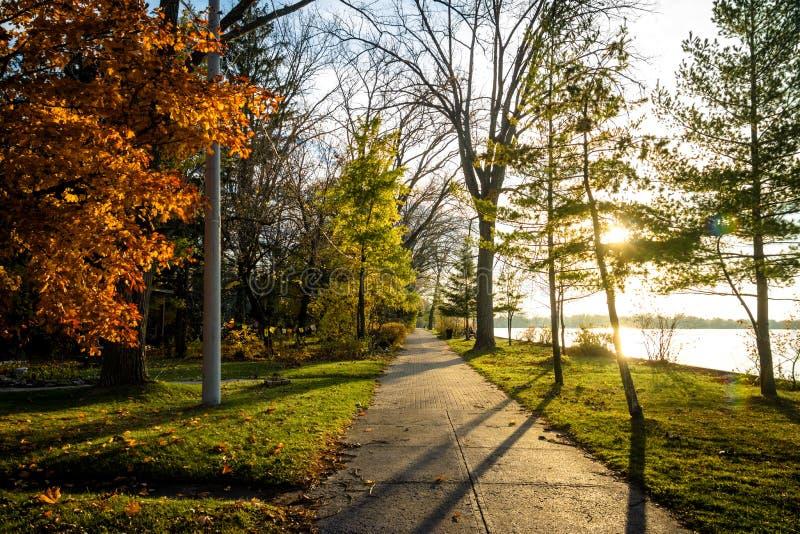 Vegetazione di autunno su un percorso del passaggio pedonale delle isole di Toronto - Toronto, Ontario, Canada immagine stock