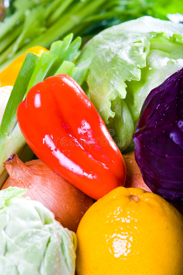 Veggie. Fresh veggie and fruit with water drips stock images
