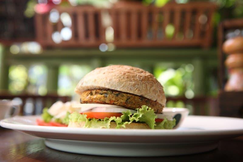 Veggie burger. In close up royalty free stock photos