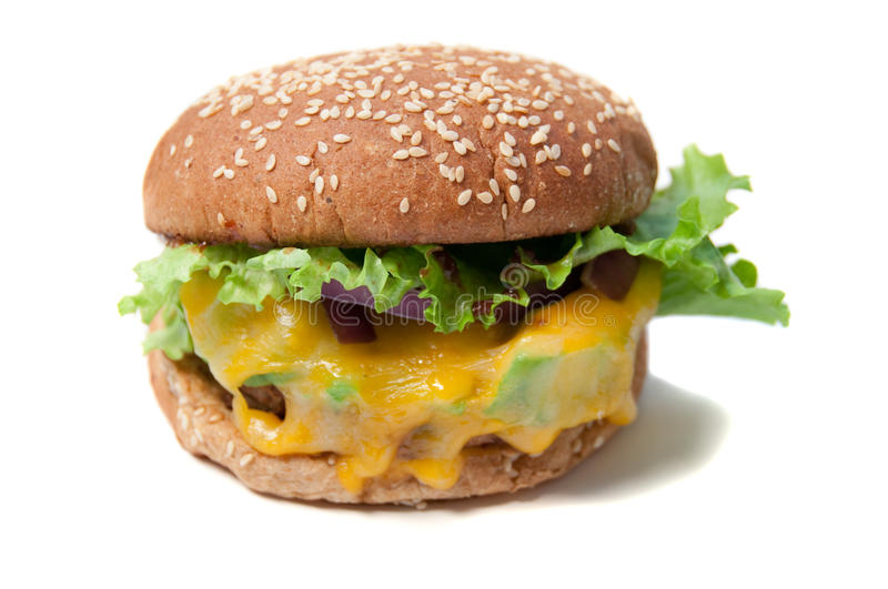 Veggie burger with melted cheese royalty free stock image
