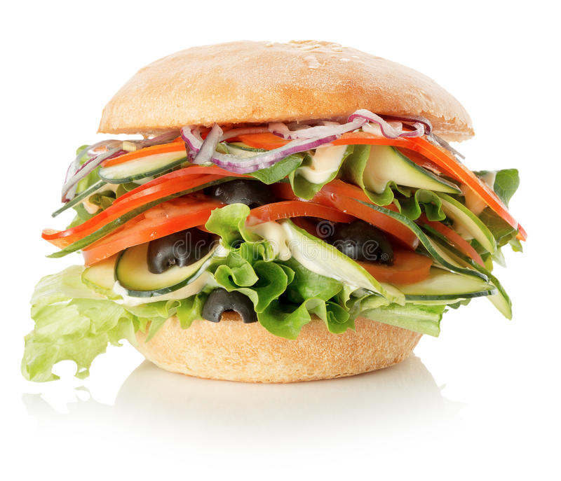 Veggie burger on the white background royalty free stock photos