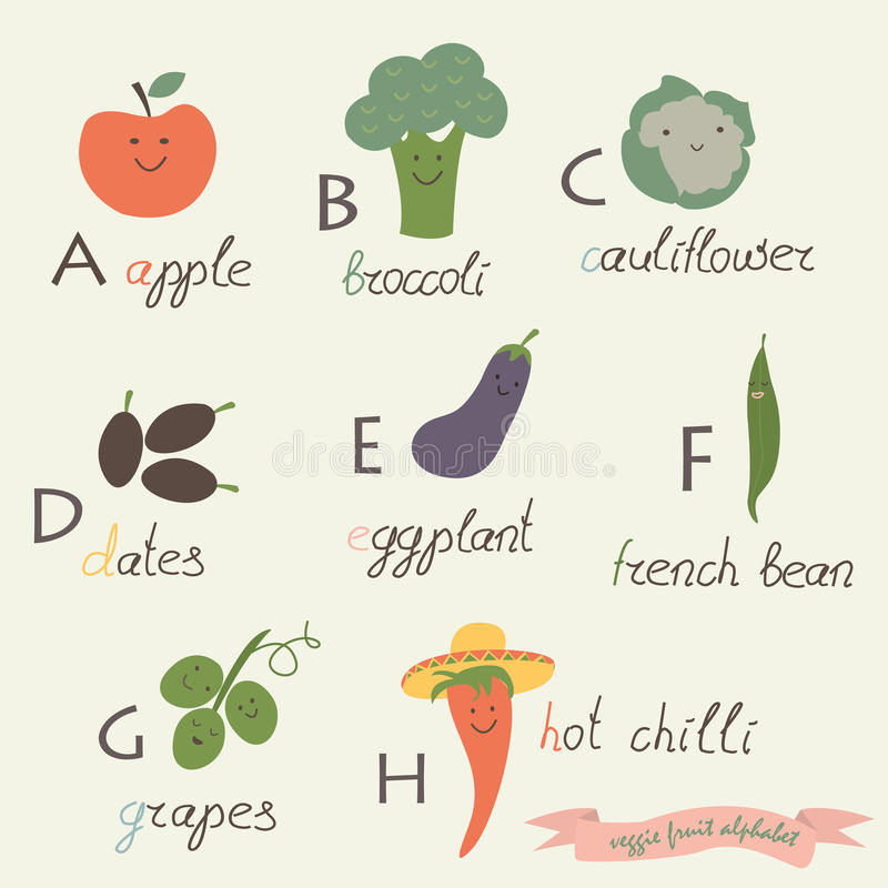 Free Veggie Fruit Alphabet Stock Images - 46671674