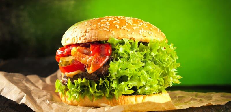 Veggie hamburger z salat i warzyw pojęciem obraz stock
