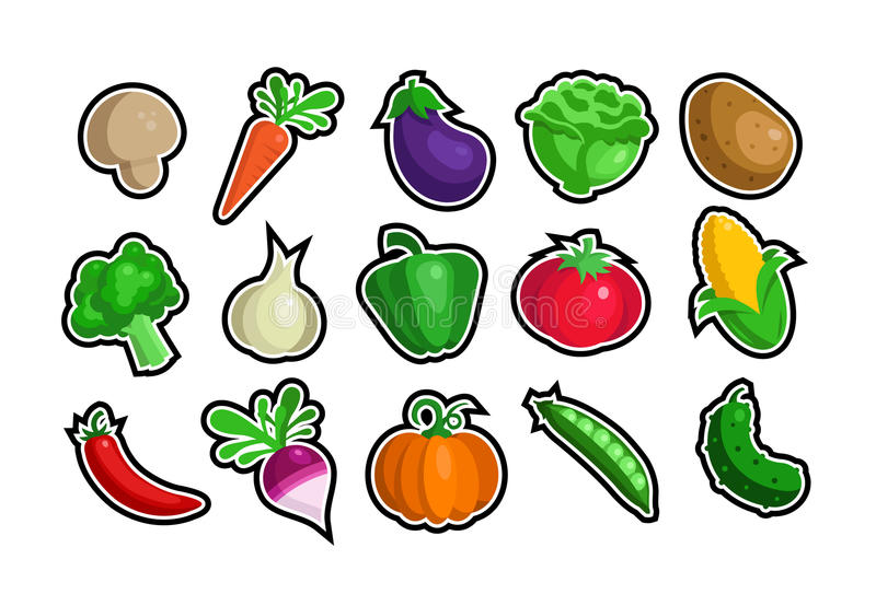 Download Veggie icons stock vector. Image of collection, broccoli - 16010953