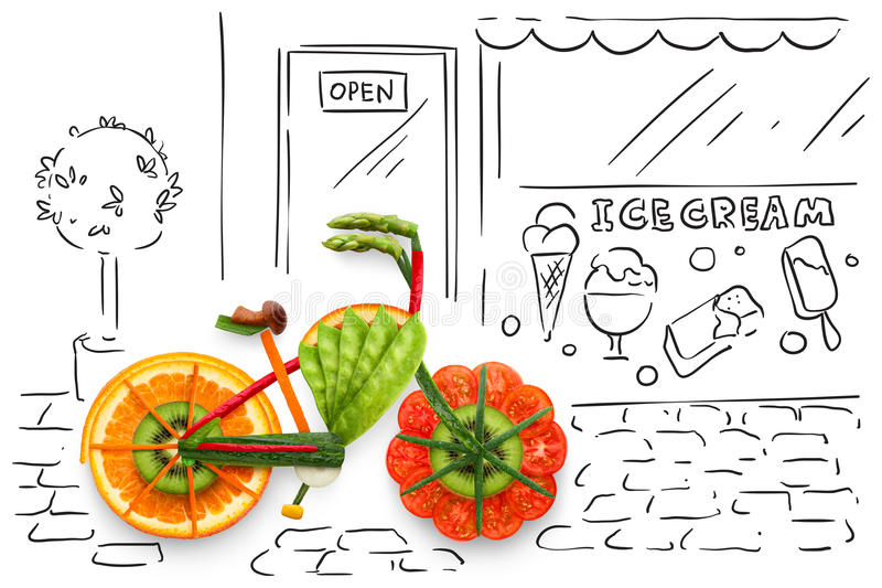 Veggie ride. Creative food concept photo of a bicycle, made of fruits and vegs, parked on sketchy urban background stock illustration