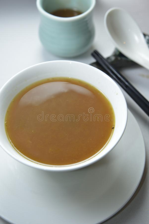 Veggie soup. Shanghainese veggie chicken soup in bowl stock image
