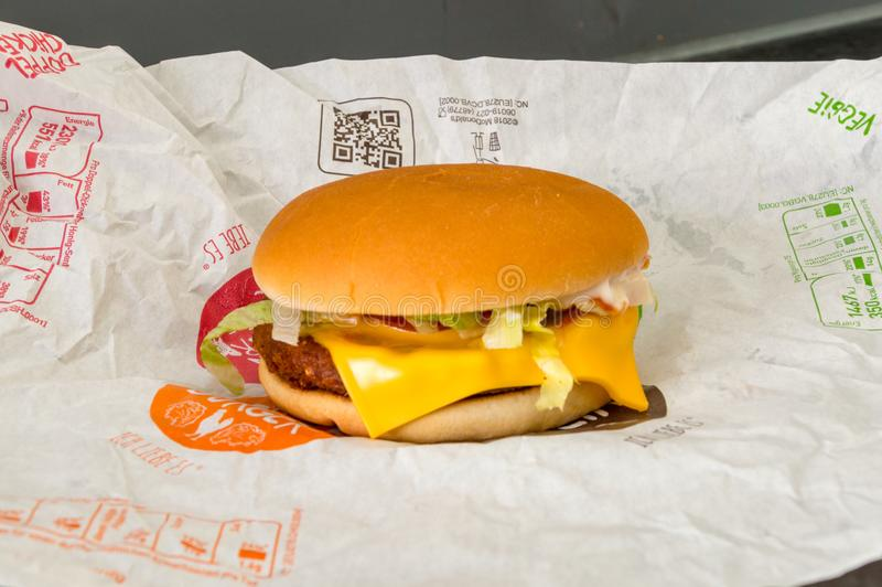 Veggieburger TS, χορτοφάγο χάμπουργκερ από McDonald ` s στοκ φωτογραφία με δικαίωμα ελεύθερης χρήσης