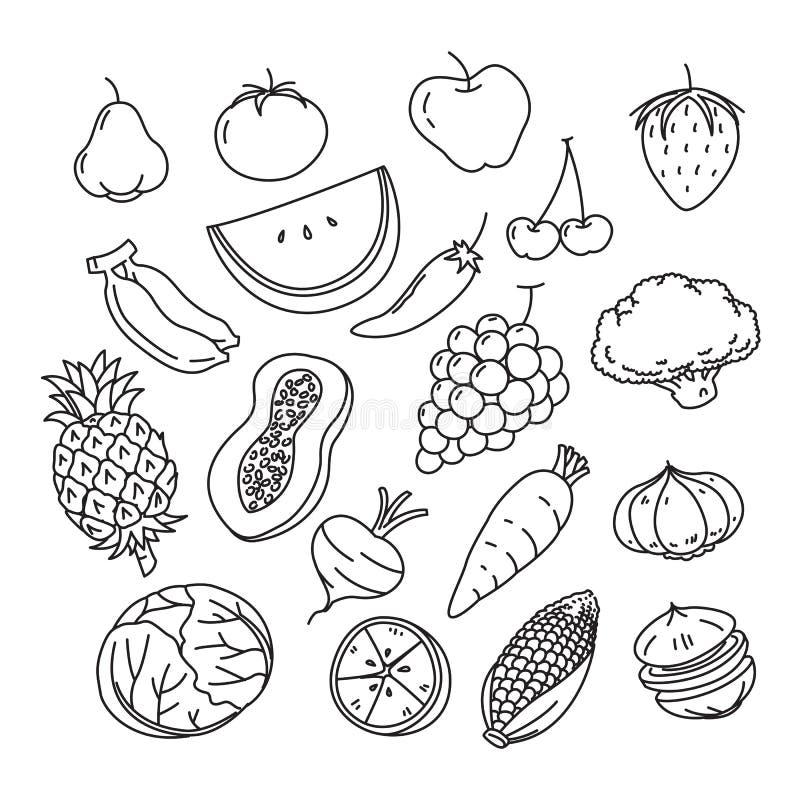 Veggies et fruits graphiques, vecteur illustration stock