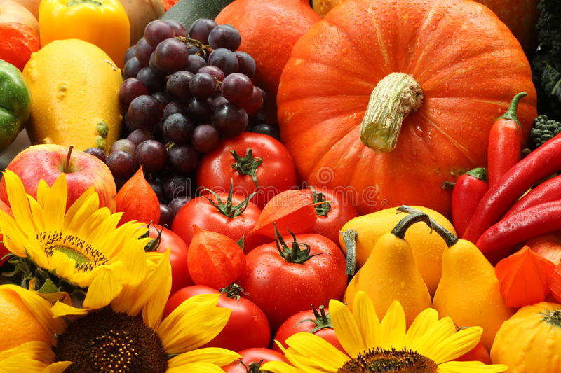 Veggies and flowers. Heap of autumn veggies, fruits and flowers royalty free stock photography