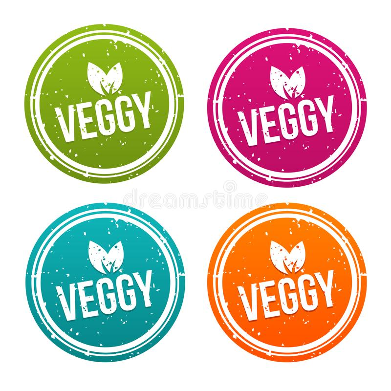 Veggy badges in different colours. vector illustration