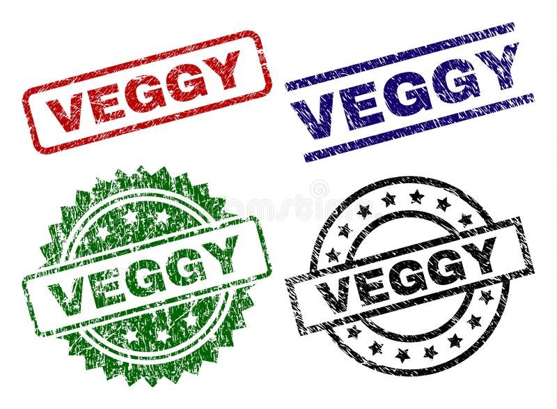 Grunge Textured VEGGY Seal Stamps royalty free illustration