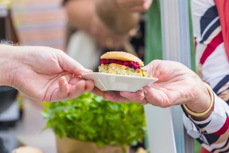 Vegitarian Burger on street food Festival stock photo