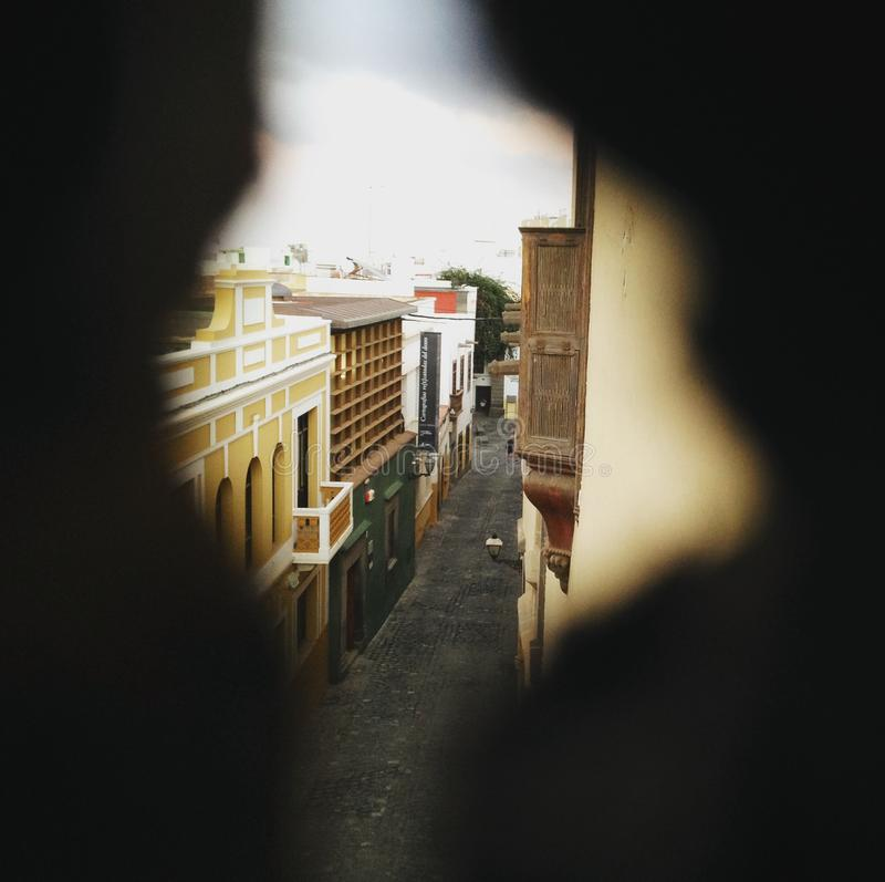 Vegueta streets seen from a window. Las palmas de Gran Canaria, Canary Islands, España stock photography