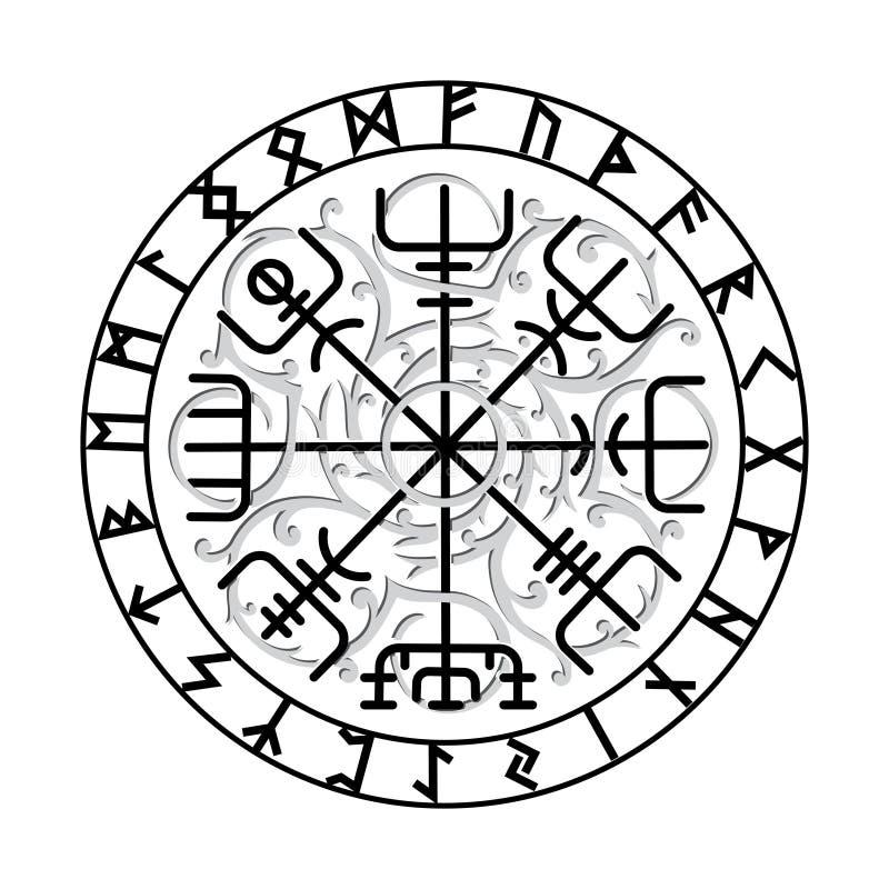 Vegvisir,古老冰岛语北欧海盗不可思议的航海指南针与斯堪的纳维亚诗歌的 皇族释放例证