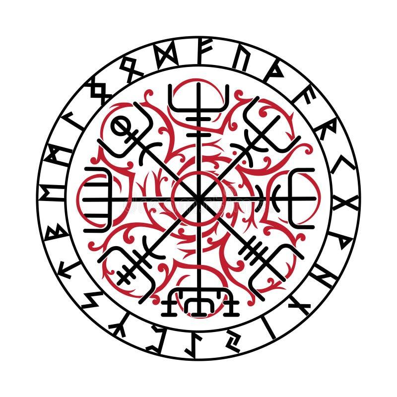 Vegvisir,古老冰岛语北欧海盗不可思议的航海指南针与斯堪的纳维亚诗歌的 库存例证