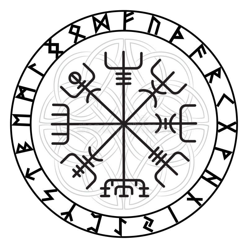 Vegvisir,古老冰岛语北欧海盗不可思议的航海指南针与斯堪的纳维亚诗歌的 向量例证