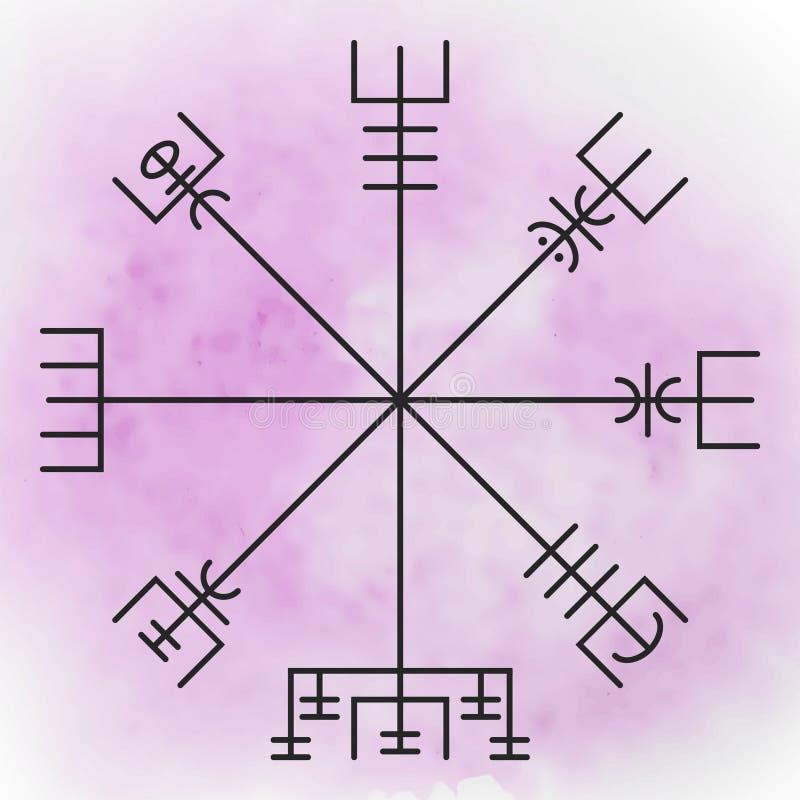 Vegvisir - den magiska navigeringkompasset vektor illustrationer