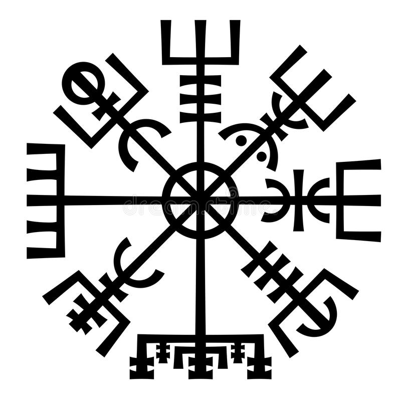 Vegvisir. The Magic Compass of Vikings. Runic Talisman. royalty free illustration