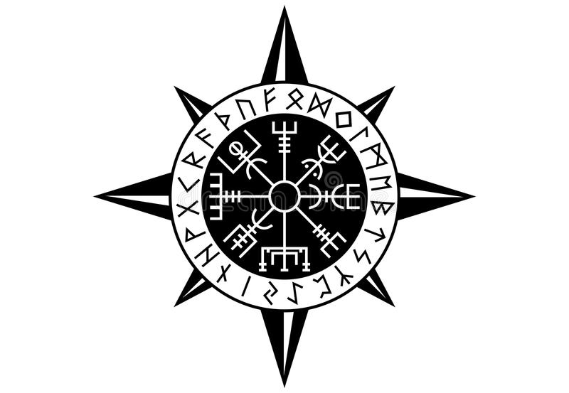 Vegvisir Viking Compas royaltyfri bild