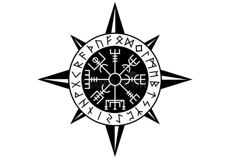 Vegvisir Viking Compas stock illustration