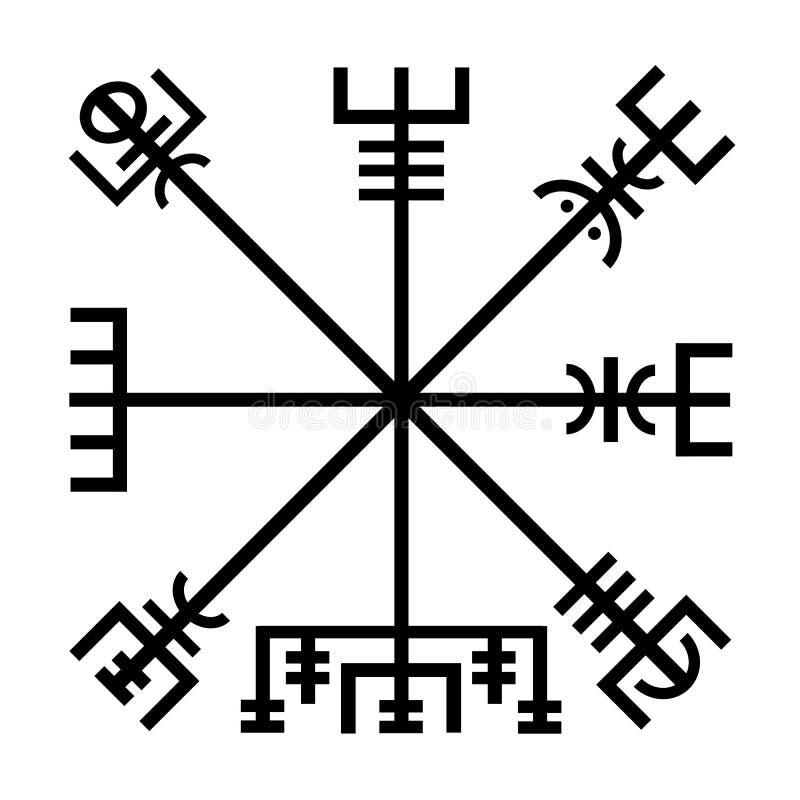 Vegvisir viking symbolsymbol vektor illustrationer