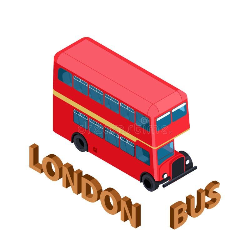 Vehículo aislado autobús rojo altamente detallado isométrico de Londres Reino Unido Inglaterra del autobús de dos pisos stock de ilustración