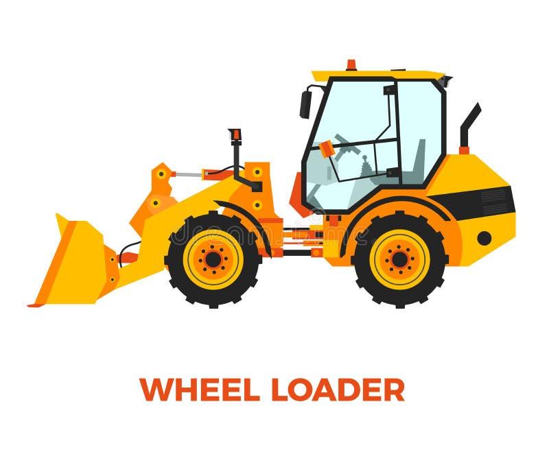 Vehículo anaranjado de la construcción del cargador de la rueda en un fondo blanco libre illustration