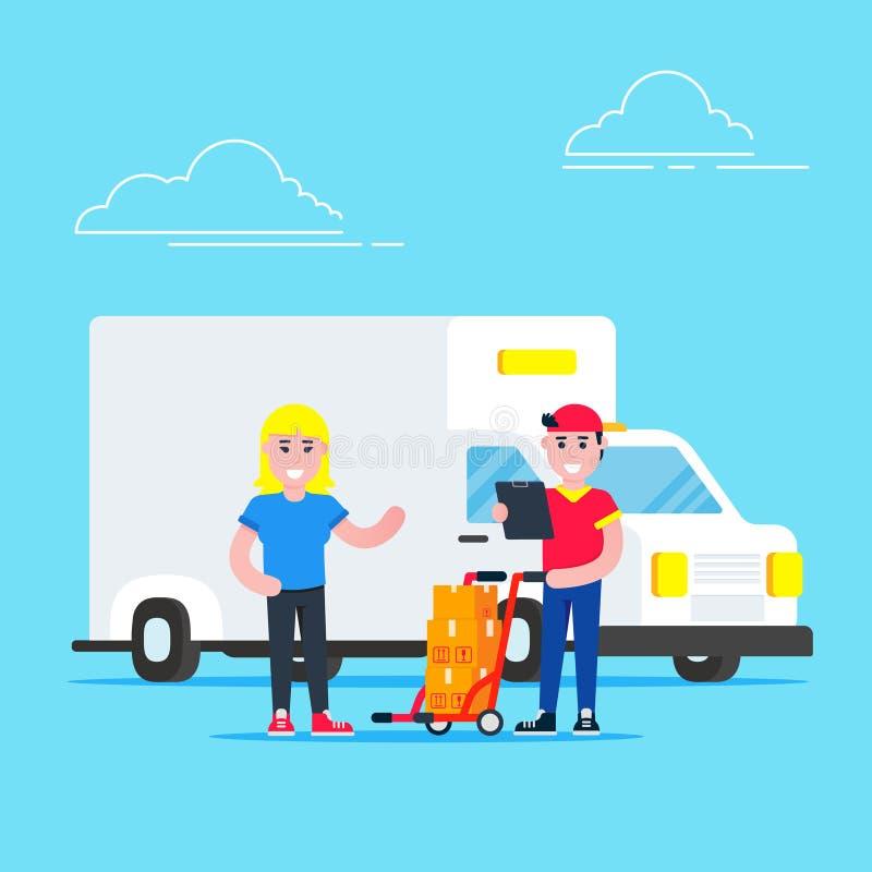 Vehículo blanco de entrega rápida van y caracter hombre con caja cerca del buzón diseño de estilo plano ilustración vectorial ais libre illustration