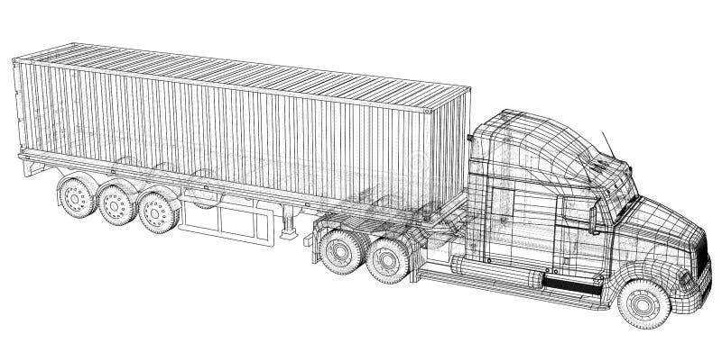 vehículo Camión grande del cargo Formato EPS10 Vector creado de 3d ilustración del vector