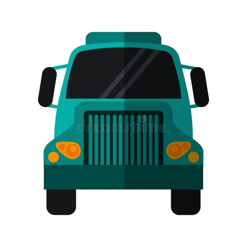Vehículo comercial del transporte delantero verde del camión stock de ilustración