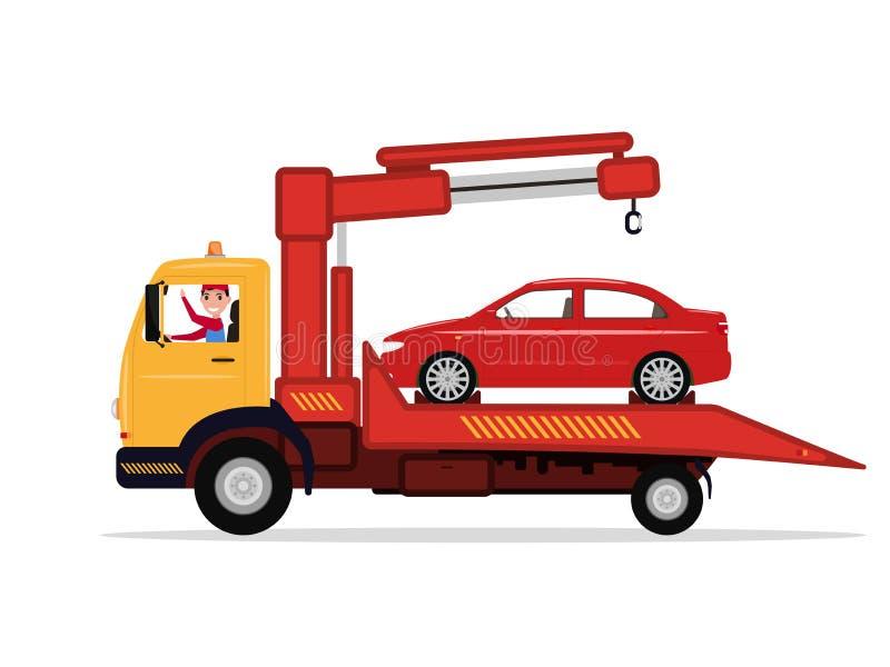 Vehículo conducido camión de la emergencia del hombre del vector a remolque ilustración del vector